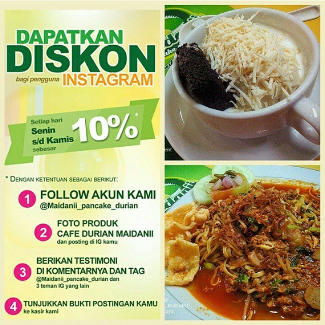 Promo Instagram dari Maidanii Pancake Durian