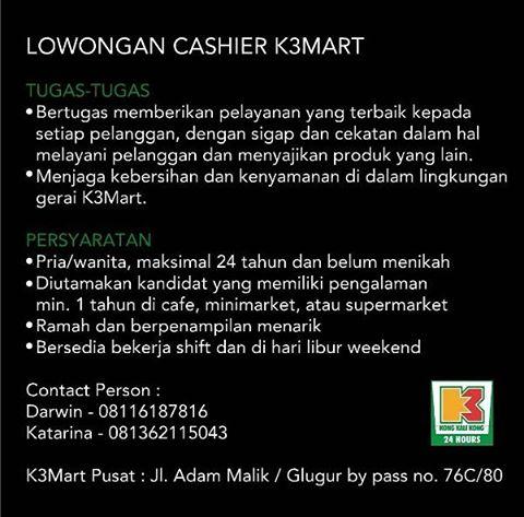 Lowongan Kerja Cashier K3 MART