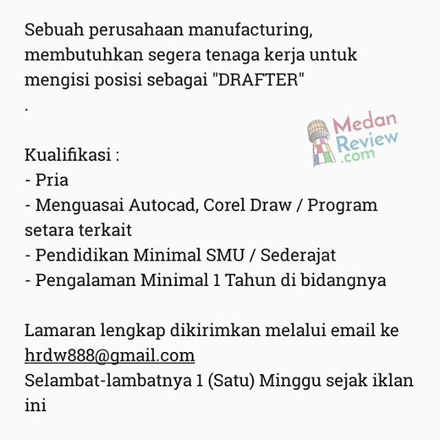 PT.Sumatera Timberindo Industry : Drafter