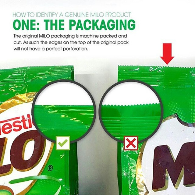 Packaging Milo Asli dan Palsu