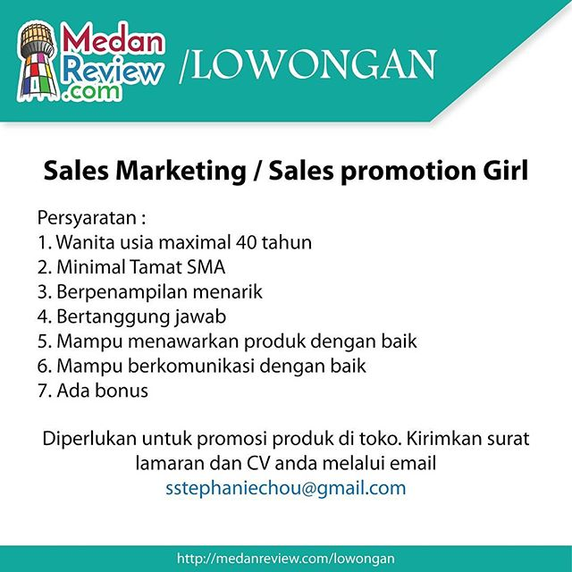 Lowongan Kerja Sales Marketing / Sales promotion Girl