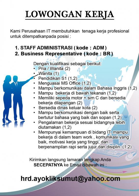 Lowongan Kerja Sebagai Staff Administrasi dan Business Representative di Perusahaan IT Medan