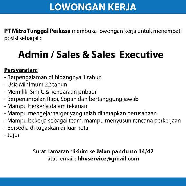 Lowongan kerja sebagai Admin / Sales & Sales Executive di PT Mitra Tunggal Perkasa