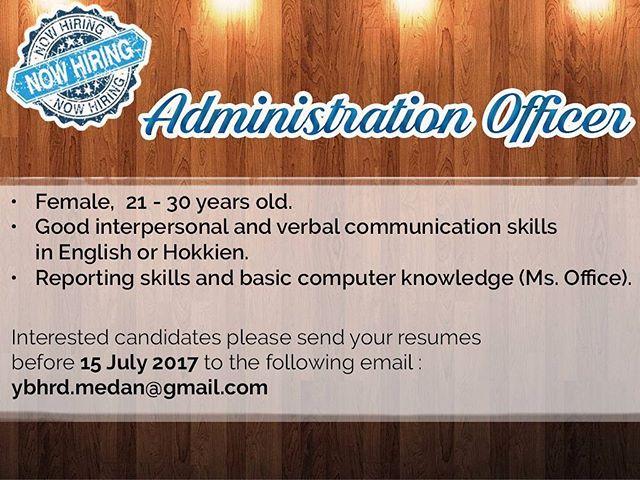 Lowongan kerja sebagai Administration Officer
