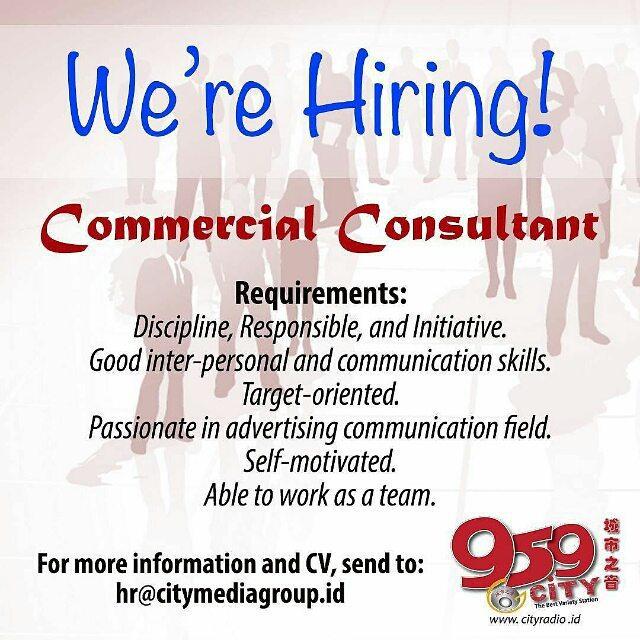Lowongan Kerja Commercial Consultant di City Radio Medan