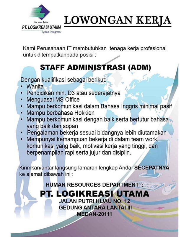 Pt Logikreasi Utama Lowongan Sebagai Staff Administrasi