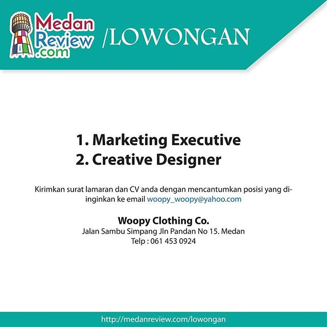Lowongan Kerja Marketing Executive dan Creative Designer di Woopy Clothing Co
