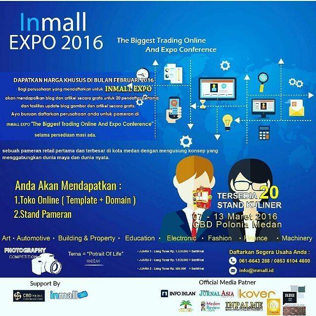 INmall Expo tanggal 07 - 13 Maret 2016 CBD Polonia, Medan akan menghadirkan expo terlengkap, Fashion Expo, Machinery,