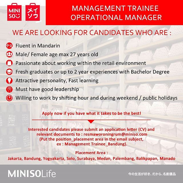 Lowongan Management Trainee Operational Manager di Miniso