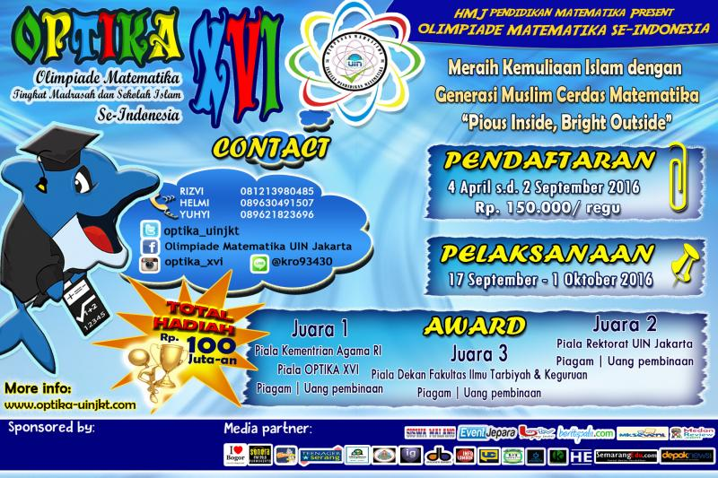 Olimpiade Matematika Tingkat Madrasah dan Sekolah Islam Se-Indonesia (OPTIKA) XVI