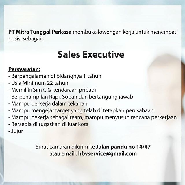 Lowongan Sales Executive Di Pt Mitra Tunggal Perkasa