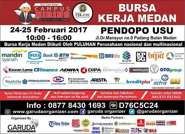 Bursa Kerja Medan di Pendopo USU 24 - 25 Februari 2017