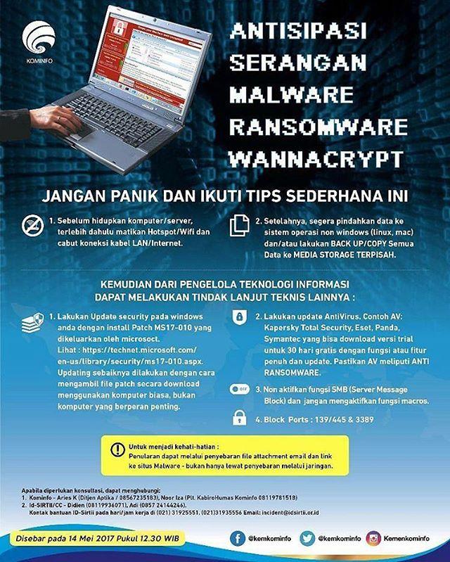 Begini Cara Antisipasi Serangan Malware Ransomeware WannaCrypt