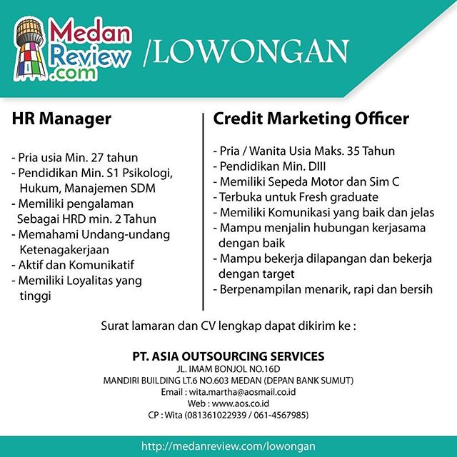 PT. Asia Outsourcing Services : Lowongan Kerja HR MANAGER, CREDIT MARKETING OFFICER