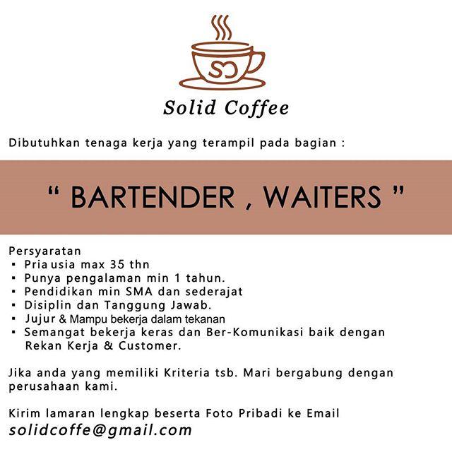 Solid Coffee : Lowongan Bartender dan Waiters
